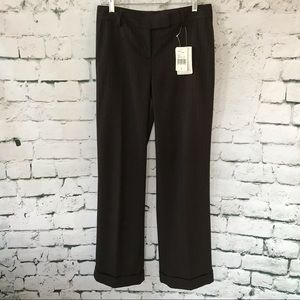 CAbi Brown Pinstriped Cuffed Business Pants Size 4